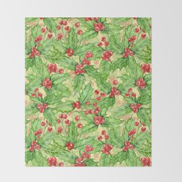 Holly berry watercolor Christmas pattern Throw Blanket