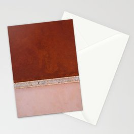 Minimal and abstract aerial view of a red and pastel Salt Lake in Italy – Landscape Photography Stationery Cards