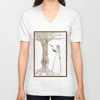 merlin V-neck T-shirts featuring Nimue & Merlin by TheScienceofDepiction