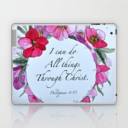 I can do all things through Christ watercolor wreath Laptop & iPad Skin