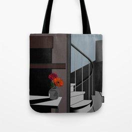 Stair Poster, Room Decor ideas, Flower Portrait Print, Flower Poster ideas, Small Room Decor, Minima Tote Bag