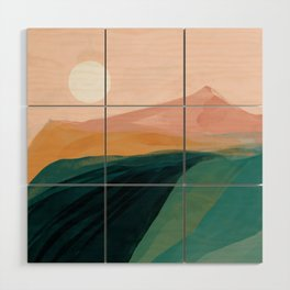 pink, green, gold moon watercolor mountains Wood Wall Art