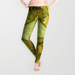 "Alphonse Mucha ""Byzantine Heads: The Blonde and The Brunette"" Leggings"