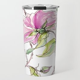 Pink Climbing Rose Travel Mug