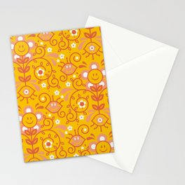 Smiley Retro Pattern – Citrus Palette Stationery Cards