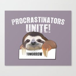 Procrastination sloth Canvas Print