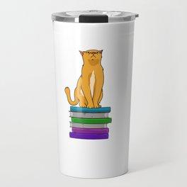 Cat Reading Lover Of Books Bookworm Bibliophile Travel Mug