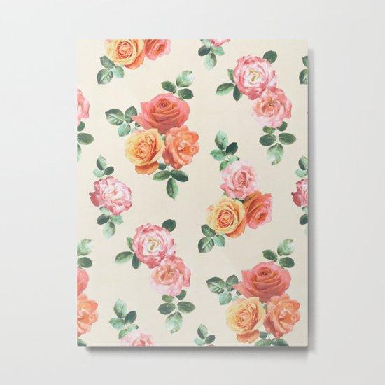 Retro Peach and Pink Roses Metal Print