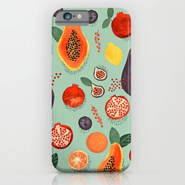 Tropical Fruit Papaya Party iPhone Case