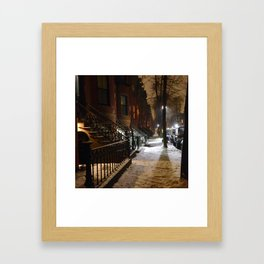 Snowstorm in Boston's South End Framed Art Print
