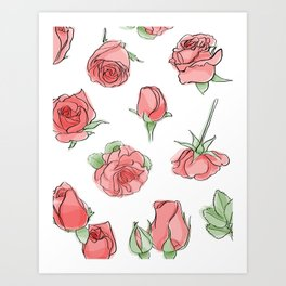 Watercolor Roses Art Print
