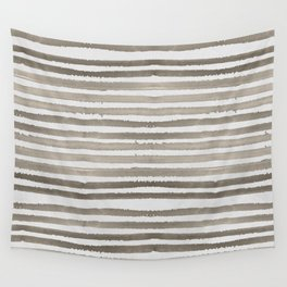 Simply Shibori Stripes Earth Brown on Lunar Gray Wall Tapestry