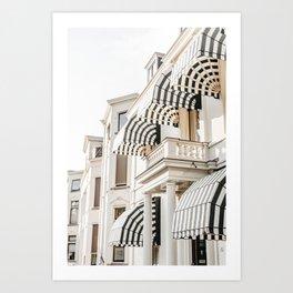 Black and white striped awnings. Minimalistic print - fine art photography Art Print