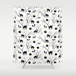 Happy Halloween vector pattern with scary cat poison witch and bat Shower Curtain