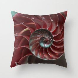 Closeup of red ammonite shell Throw Pillow