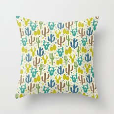 Prickly Cactus (Greens) Throw Pillow