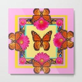 Fuchsia Daisies & Orange Monarch Butterflies Patterns Art Metal Print
