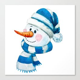 Blue Snowman 01 Canvas Print