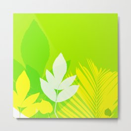Jungle neon green Leaves Palm Yellow Metal Print