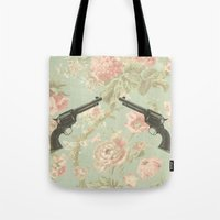 guns Tote Bags featuring Guns & Flowers by fyyff