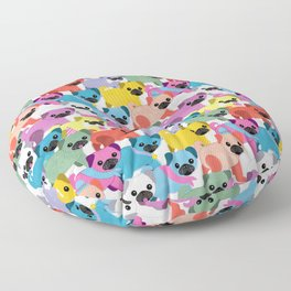Colored Pugs Pattern - no1 Floor Pillow