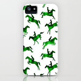 Watercolor Showjumping Horses (Green) iPhone Case
