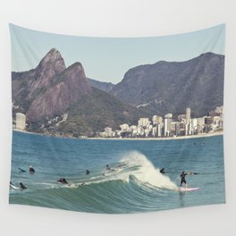 Surfing on Ipanema Beach Wall Tapestry