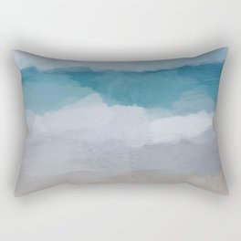 Aqua Blue Ocean Shore Break Waves Horizon Sandy Abstract Nature Ocean Painting Art Print Wall Decor Rectangular Pillow