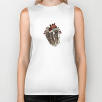 anatomical heart Biker Tanks featuring Anatomical Heart  by Whoosh