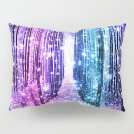 Magical Forest : Aqua Periwinkle Purple Pink Ombre Sparkle Pillow Sham