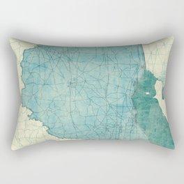 Ohio State Map Blue Vintage Rectangular Pillow