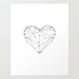 Love Heart Geometric Polygon Drawing Vector Illustration Valentines Day Gift for Girlfriend Art Print