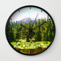 forrest Wall Clocks featuring Forest Green by IvanaW