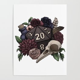 Necromancer D20 Tabletop RPG Gaming Dice Poster