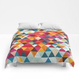 Vintage Summer Color Palette - Hipster Geometric Triangle Pattern Comforters