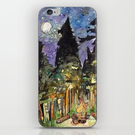 Campfire Under a Full Moon iPhone Skin