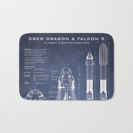 NASA SpaceX Crew Dragon Spacecraft & Falcon 9 Rocket Blueprint in High Resolution (dark blue) Bath Mat