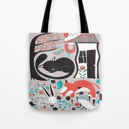 Sleepy Forest Creatures Tote Bag