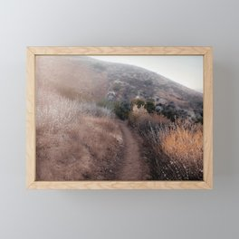 walkway with mountain view and dry grass field Framed Mini Art Print