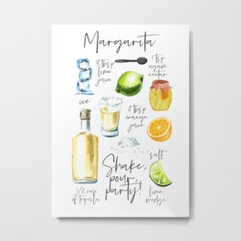 Margarita Recipe Watercolor Illustration Metal Print