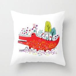 Croco-Nature Illustration Throw Pillow