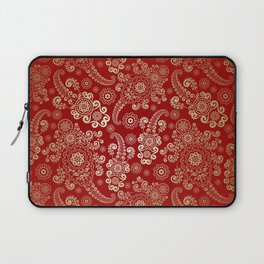 Golden Luxury Paisley on Red Ruby Background Laptop Sleeve