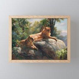 Two Lions In Love Framed Mini Art Print