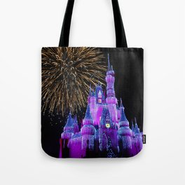 Disney Magic Kingdom Fireworks at Christmas - Cinderella Castle Tote Bag