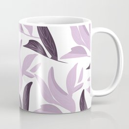 Abstract modern pastel lavender white leaves floral Coffee Mug