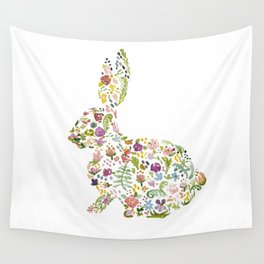 Springtime Flower Bunny Wall Tapestry