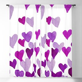 Valentine's Day Watercolor Hearts - purple Blackout Curtain