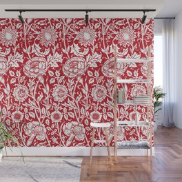 "William Morris Floral Pattern | ""Pink and Rose"" in Red and White Wall Mural"