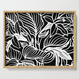 Black And White Floral Minimalist Serving Tray