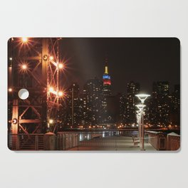 Empire state building with colombian flag Cutting Board